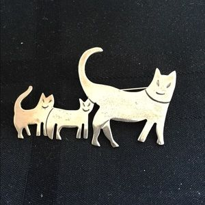 Sterling silver cats brooch pin 925
